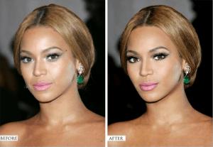 Beyoncé avant et après Photoshop (Cliquez pour agrandir)