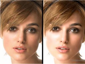 Keira Knightely avant et après Photoshop (Cliquez pour agrandir)