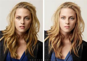 Kristen Stewart avant et après Photoshop (Cliquez pour agrandir)