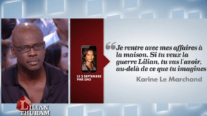 lilian thuram deballe le SMS de karine le marchand en direct au grand journal