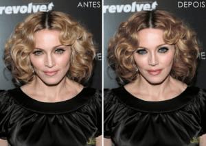 Madonna avant et après Photoshop (Cliquez pour agrandir)
