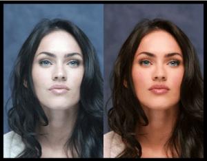 Megan Fox avant et après Photoshop (Cliquez pour agrandir)