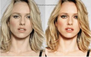 Naomi Watts avant et après Photoshop (Cliquez pour agrandir)
