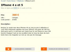 annonce Leboncoin.fr, Les fautes d'orthographe (6) Cliquez sur la photo pour agrandir